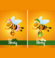 flying honey bee cartoon with flowers vector image