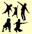 children playing silhouette vector image