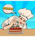 Chef Decorating Delicious Cake Pop Art vector image