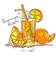 Cartoon cocktail with orange vector image