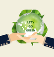 Green Eco Earth Hand holding Green earth vector image