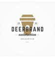 Hand drawn Coffee Cup Logo Vintage Style vector image