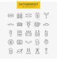 Line Oktoberfest Icons Big Set vector image