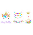 unicorn head with flowers - card and shirt design vector image