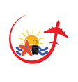 travel icon with airplane red vector image