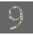 Nine number social network with media icons vector image
