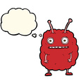 cartoon funny alien monster with thought bubble vector image