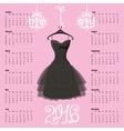 Calendar 2016 yearBlack dress Silhouette vector image