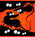 cartoon rats silhouettes vector image