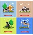 set of horse theme flat design vector image