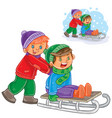 two boys friends ride a sled vector image