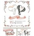 Vintage wedding invitation setStylized hearts vector image