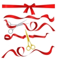 Metal chrome and golden scissors cutting red silk vector image