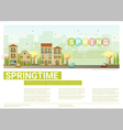 Hello spring cityscape background 8 vector image
