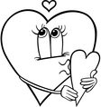 heart with valentine card coloring page vector image