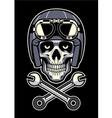 skull wearing vintage motorcycle helmet vector image