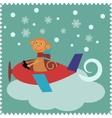 Christmas card with monkey Santa Claus vector image