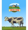 cow and farm vector image vector image