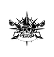 skull and wind rose vector image vector image