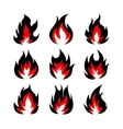 Set of fire symbols vector image