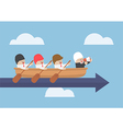 Senior businessman with his team rowing to success vector image