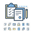 business documents icons vector image