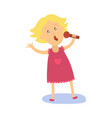 flat kid girl singing at microphone vector image