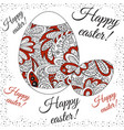 doodle zentangl drawing holiday card white red vector image
