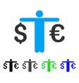 person compare euro dollar flat icon vector image