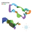 Abstract color map of Uzbekistan vector image