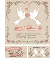 Vintage wedding invitation setPigeonfloral decor vector image