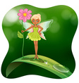 Fairy holding pink flower on the leaf vector image vector image