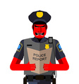 Angry policeman shouts Dreaded red man in a vector image