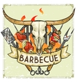 BBQ Grill label design - with vector image