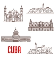 Cuba tourist architecture travel attraction icons vector image