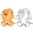 Funny yellow young lion cartoon Coloring page vector image