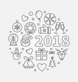 happy new year 2018 line vector image