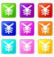 human thorax icons 9 set vector image