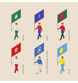 isometric people with flags of asia and oceania vector image