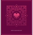 Design template with square linear heart frame vector image