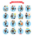 working day busy template collection on white vector image