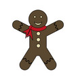 white background with gingerbread man with scarf vector image