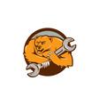 Grizzly Bear Mechanic Spanner Circle Cartoon vector image