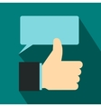 Thumbs up and speech bubble icon flat style vector image vector image