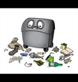 dustbin with garbage waste trash vector image
