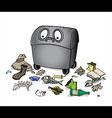 dustbin with garbage waste trash vector image