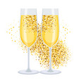 golden champagne on white vector image