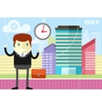 Happy businessman showing clock vector image