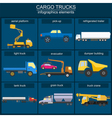 Set of elements cargo transportation trucks lorry vector image