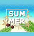 summer background with with starfish and vector image